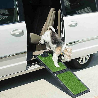 """Gen7Pets 42"""" Natural-Step Mini Pet Ramp with artificial turf holds up to 200 lbs"""