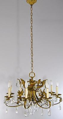Neoclassic 8 Arm Crystal And Bronze Chandelier