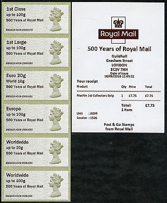 Guildhall 500 Years Of Royal Mail Machin Coll Set/6 A009 B6Gb16 Post & Go