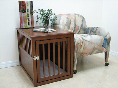 Crown Pet Wooden Medium or Large Dog Crate in Espresso or Mahogany Finish