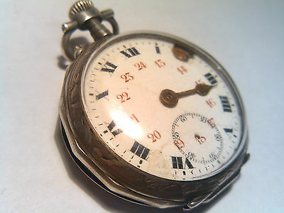 Vintage Antique Swiss Made Silver Pocket Watch Porcelain Dial Meena  Hp Case