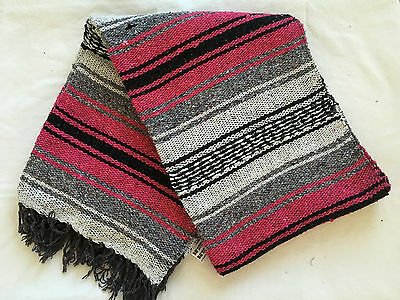"""Authentic Pink Mexican Falsa Blanket Hand Woven Yoga Mat Blanket 72""""x 54"""""""