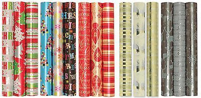 Pack of 3 x 2M Rolls Foil Xmas Christmas Wrapping Paper Foil Christmas Gift Wrap