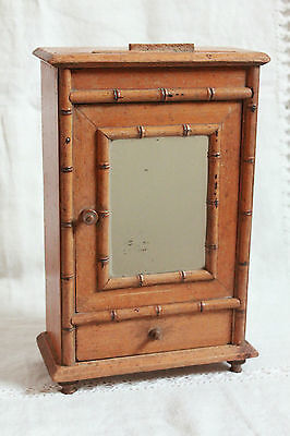 Antique Miniature French Faux Bamboo Doll Mirrored Armoire Cabinet