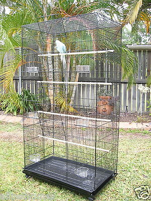 Bird Cage Parrot Aviary Pet Stand-alone Budgie Castor Wheels Large TOWER.