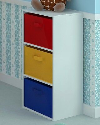 3 Tier Toy Storage Unit Kids Chest of 4 Canvas Drawers for Bedroom or Playroom