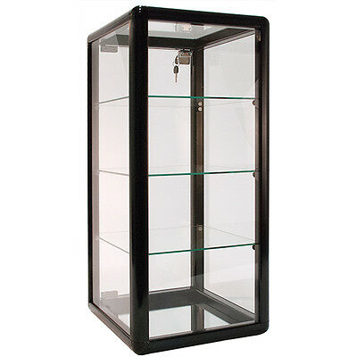 "Countertop Showcase Store Merchandise Glass Display 14""Lx12""Wx27""H Black NEW"
