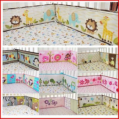 New Baby boy girl Cotton Crib Cot Bumpers Pad Padded Full Surround 4pcs