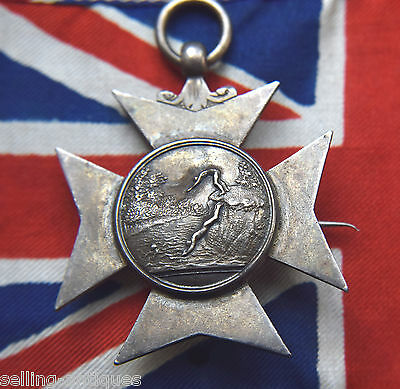 1876 ROCHDALE GRAMMAR SCHOOL Victorian solid Silver Swimming Diving Medal Badge