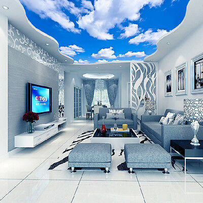 3D Wallpaper Blue Sky White Clouds Murals For The Living Room Bedroom Ceiling