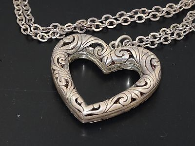 ANTIQUE VICTORIAN HEART PENDANT w/ HANDMADE CHAIN LINK STERLING NECKLACE