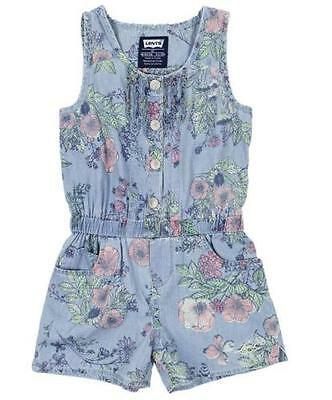 NEW Levi's Girls' Summer Rompers Light Blue Floral 4-5 YRS