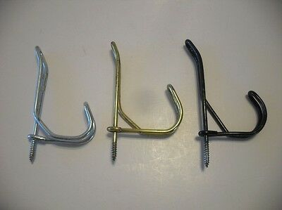 Vtg Steel WIRE Screw HOOKS Hat Coat Towel Bath Closet MUDROOM Black- Gold Silver