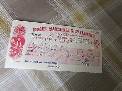 MAGEE Marshall & Co Limited Crown BREWERY 1965 District Bank BOLTON Used Cheque
