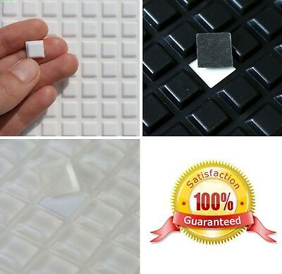 3M RUBBER FEET Bumpons, 12x12x3mm Thick, STRONG Adhesive Squares, CLEAR or BLACK