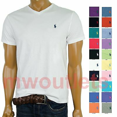 NWT Polo Ralph Lauren Mens V-Neck Solid Short Sleeve T-Shirt - Standard Fit