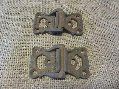 Vintage Ornate Cast Iron Hinges > Antique Hardware Door Farm Wood Shabby 9596