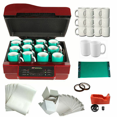 FREE SHIPPING 3D Heat Press Machine Mugs Sublimation Transfer Tape Printing KIT