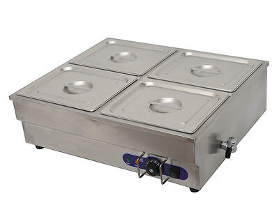 Commercial Squarish 4-Pan Bain-Marie Buffet Food Warmer Steam Table 110V 1500W
