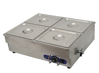 Commercial Squarish 4-Well Bain-Marie Buffet Food Warmer Steam Table 110V 1500W