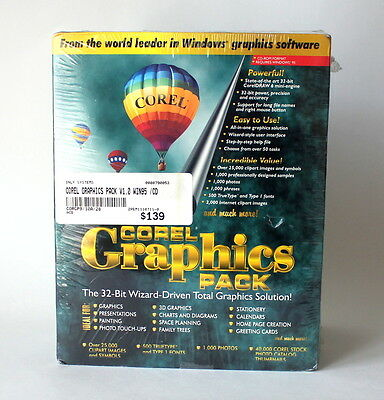 Corel Graphics Pack for Windows 95 Sealed NOS Version 1.0 Win95 Software New