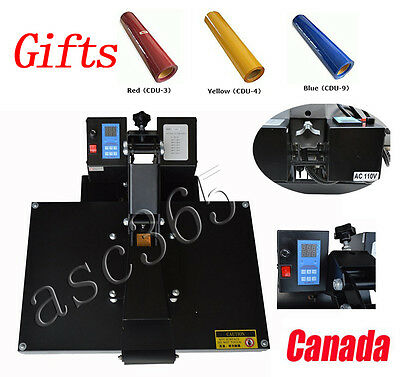 110V 16X24 inch Flat Heat Press Machine Digital Display 3Yards Vinyl FREE Gifts