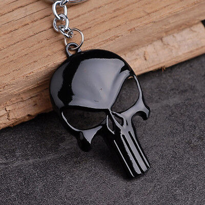 1pc Fashion Mens Punk Black Skull Shape Metal Keychain Cartoon Punisher Mask