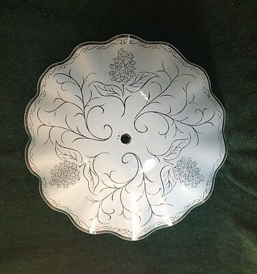 Vintage Retro Mid Century Ceiling Light Lamp Glass Shade Frosted Floral Pattern