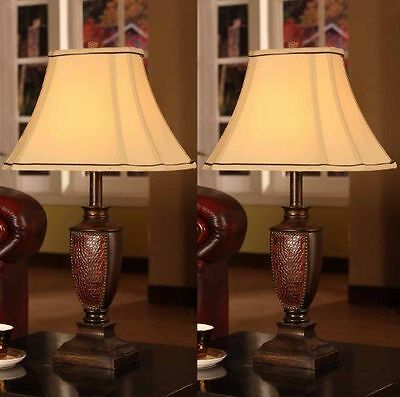 Pair Vintage Table Lamp Buffet Antique Mid Century Furniture Fabric Shade Set 2