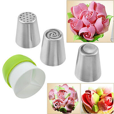 17pcs Stainless Steel Flower Icing Piping Nozzles+1pc Tri-color Coupler Cake Kit