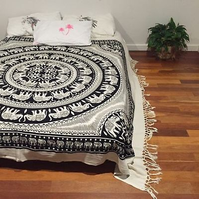 Indian Elephant Mandala Tapestry Wall Hanging Hippie Queen Bedspread Bedding Art