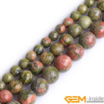 Natural Green Unakite Gemstone Faceted Loose Round Beads For Jewelry Making 15""