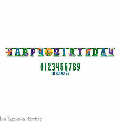 3.2m x 24.5cm Prehistoric Dinosaur Birthday Party Add An Age Jumbo Letter Banner