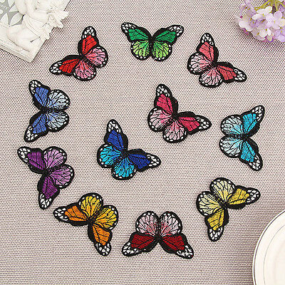 10 DIY Embroidery Butterfly Sew On Patch Badge Embroidered Fabric Applique New F