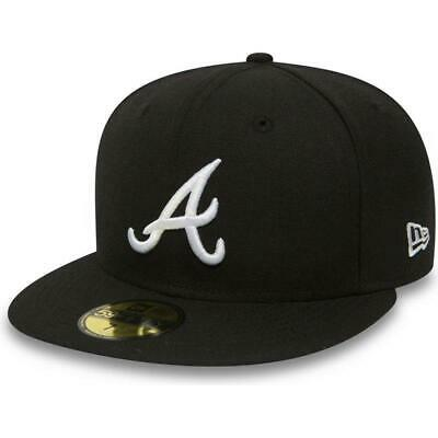New Era - 59Fifty Fitted Cap. Atlanta Braves. Black. (Rrp £30) Free Cap Box
