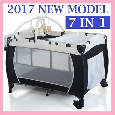 New 7 In 1 Baby Portable Travel Cot Bassinet Playpen Bed Crib Portacot Free Post
