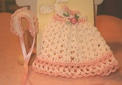 Miniature Dollhouse Victorian Baby Dress Ooak and Bonnet Handmade Crochet