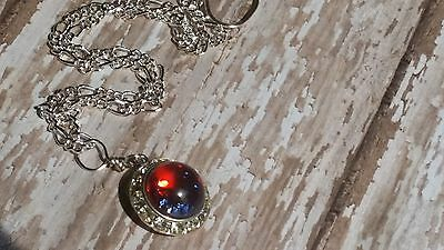 Halo Fire Opal Necklace perfect for anniversary, birthday Back to school, Rush