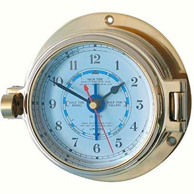 Ships Porthole Brass Nautical Tide Clock 117mm OD Meridian Zero 18029