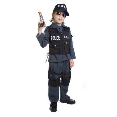 Deluxe Children's S.W.A.T. Police Officer Fancy Dress Costume Set