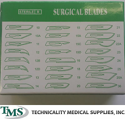 100 #22 Stainless Steel Surgical Dental Veterinary Taxidermy Blade + 2 #4 Handle