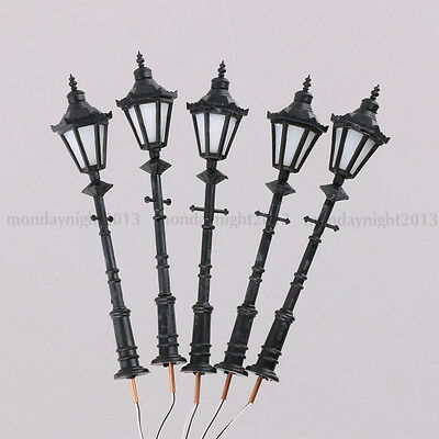 5P 1:25 Scale Model Trains Metal Light Poles Wired LED Lighted Street Lamps LH-8