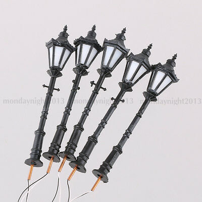 5PCS 1:50 Scale Model Trains Metal Light Poles Wired LED Lighted Street Lamps