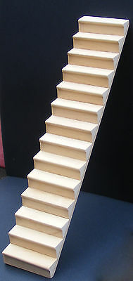 1:12 Scale Natural Finish Wooden Dolls House Miniature Stair Case Accessory