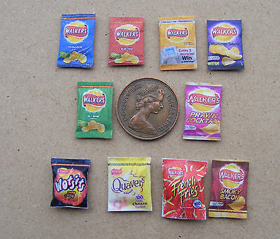 1:12 Scale 10 Packets of Mixed - Assorted Crisps Dolls House Miniature Pub Food