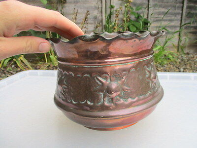 Antique Copper Planter Plant Pot Tub Jardiniere Art Nouveau Vintage Old Trough