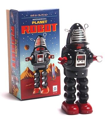 BLACK mechanical Wind Up Space Tin Retro Robby forbidden Planet Sparking ROBOT