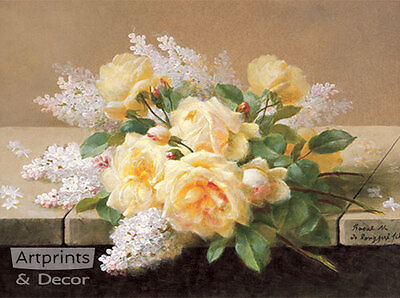 Yellow Roses with Lilacs by Raoul de Longpre (Art Print of Vintage Art)