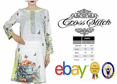 Cross Stitch Pakistani Shirt Women Ladies Designer Apple Printed 100% Lawn Kurta