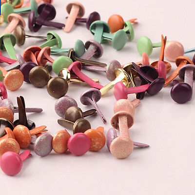 100Pcs Round Brads Craft Scrapbook Cardmaking Mixed Colours 8*12mm New